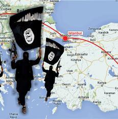 Harta e rrug�s s� ndjekur nga xhihadist�t shqiptar p�r n� Siri